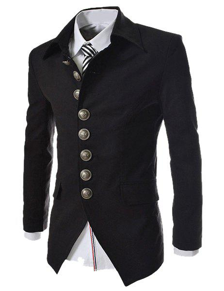 Slimming Fashion Turndown Collar Single Breasted Long Sleeve Men's Cotton Blend Blazer - BLACK M