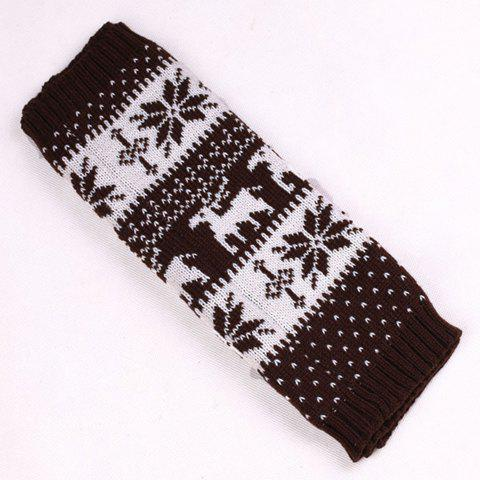 Pair of Chic Snowflake and Deer Pattern Women's Knitted Leg Warmers - COFFEE