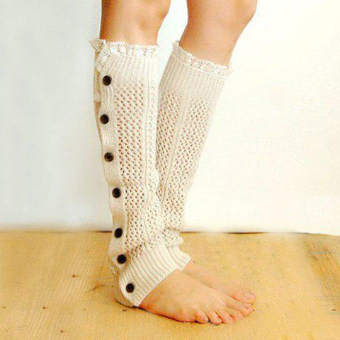 Pair of Chic Buttons Lace Edge Hollow Out Women's Knitted Leg Warmers