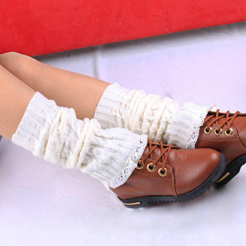 Pair of Chic Lace Edge Embellished Hemp Flower Women's Knitted Leg Warmers