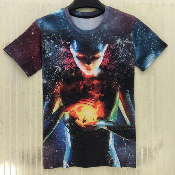 3D Starry Sky Extra-Terrestrial Print Slimming Round Neck Short Sleeve Men's T-Shirt - BLUE M