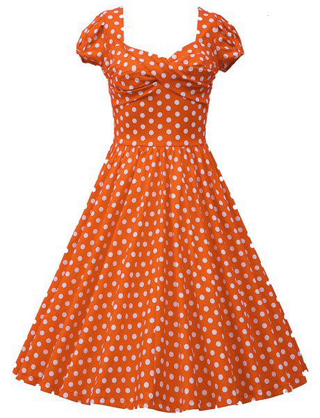 Retro Cap Sleeve Sweetheart Neck Polka Dot Women's Dress - ORANGE M