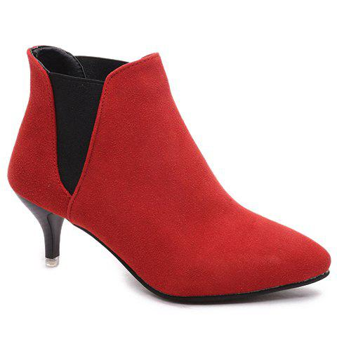 Laconic Elastic and Suede Design Short Boots For Women - RED 38
