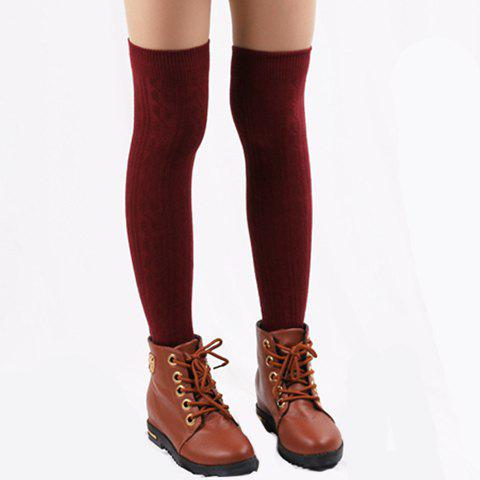 Pair of Chic Hemp Flower Jacquard Solid Color Women's Knitted Stocking - COLOR ASSORTED