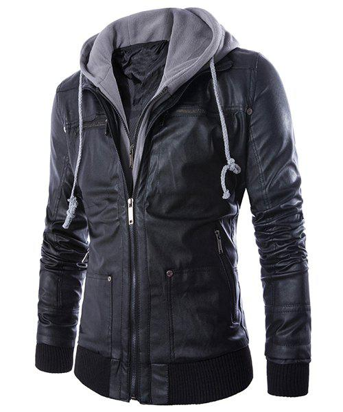 Slimming Stylish Hooded Faux Twinset Rib Splicing Long Sleeve Men's PU Leather Jacket