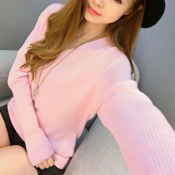 Refreshing Solid Color V-Neck Long Sleeve Knitwear For Women - PINK M