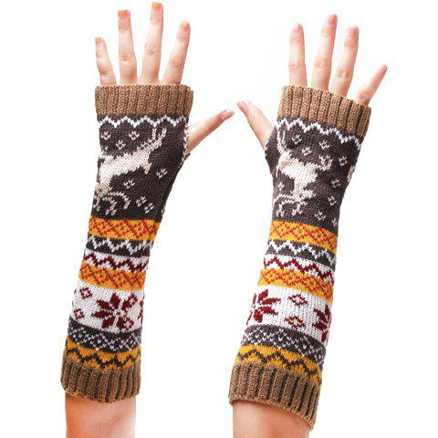 Pair of Chic Deer and Snowflake Pattern Women's Knitted Fingerless Gloves - KHAKI