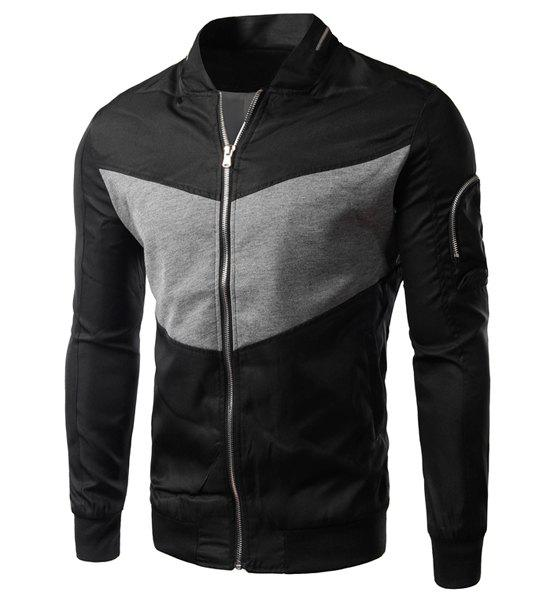 Fitted Fashion Stand Collar Color Block Splicing Zipper Design Long Sleeve Polyester Men's Jacket - BLACK M