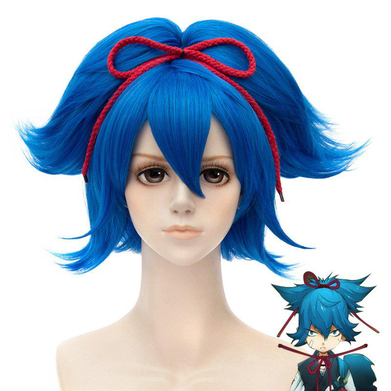 Gorgeous Blue Inclined Bang Short Fluffy Natural Straight With Bunches Sayosamonji Cosplay Wig - BLUE