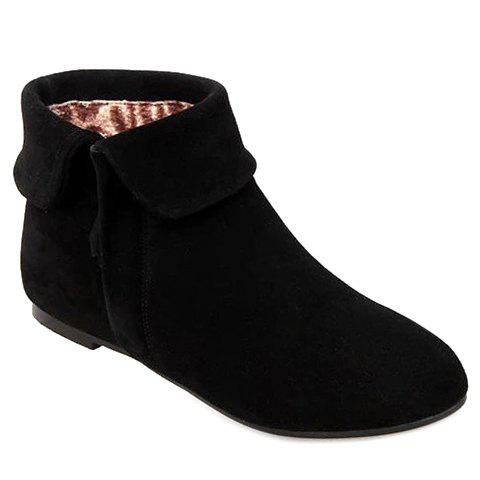 Retro Suede and Zipper Design Short Boots For Women - BLACK 39