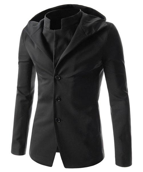 Slimming Fashion Hooded Solid Color Single Breasted Long Sleeve Men's Polyester Coat - BLACK XL