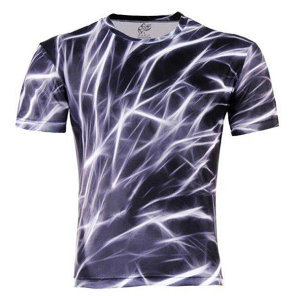 Slimming Stylish Round Neck Color Block 3D Abstract Print Short Sleeve Men's Cotton Blend T-Shirt - COLORMIX M