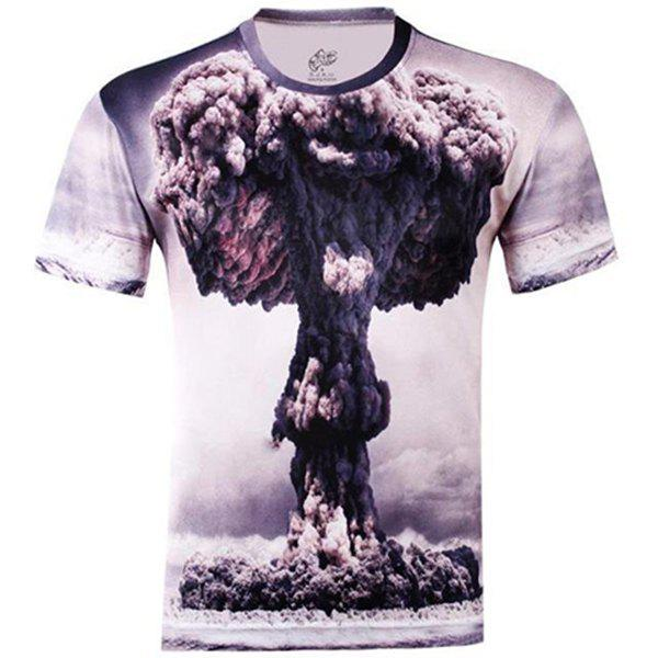 Slimming Trendy Round Neck 3D Mushroom Cloud Pattern Short Sleeve Men's Cotton Blend T-Shirt - COLORMIX M