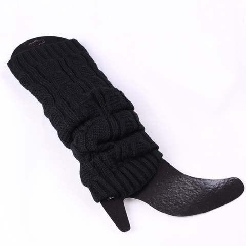 Pair of Chic Solid Color Breathable Women's Knitted Leg Warmers - BLACK