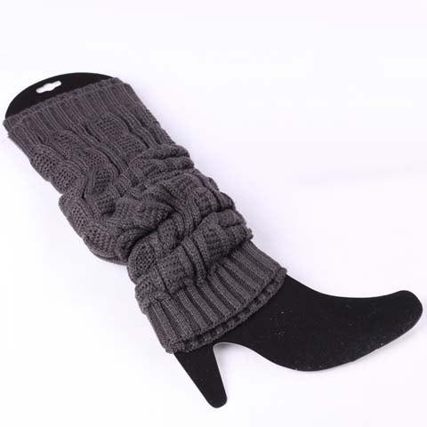 Pair of Chic Solid Color Breathable Women's Knitted Leg Warmers - GRAY