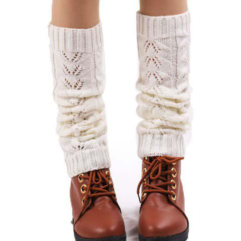 Pair of Chic Hollow Out Solid Color Women's Knitted Leg Warmers - COLOR ASSORTED