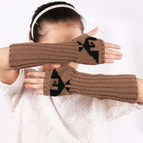 Pair of Chic Bird Pattern Striped Women's Knitted Fingerless Gloves - KHAKI