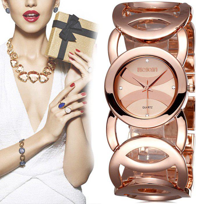 WeiQin 2487 Women Japan Quartz Chain Watch Diamond Scales Hollow Out Alloy Band Bracelet - ROSE GOLD