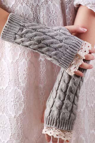 Pair of Chic Lace Edge Embellished Hemp Flower Women's Knitted Fingerless Gloves