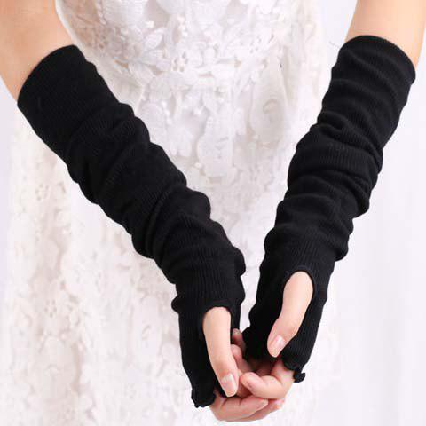 Pair of Chic Simple Pure Color Women's Fingerless Gloves - RANDOM COLOR PATTERN
