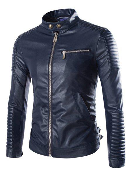 Slimming Modish Stand Collar Striped Sutures Design Solid Color Long Sleeve Men's PU Leather Jacket - CADETBLUE L