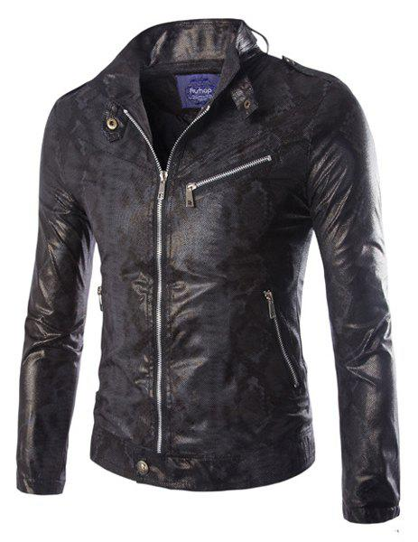 Modish Slimming Stand Collar Epaulet and Zipper Design Long Sleeve PU Leather Jacket For Men - BLACK M