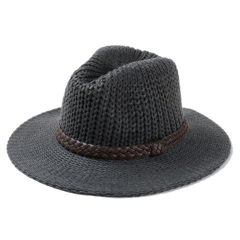 Chic PU Leather Strappy Embellished Solid Color Knitted Jazz Hat For Women