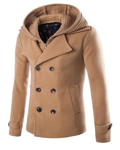 Fashion Slimming Hooded Faux Twinset Solid Color Long Sleeve Woolen Blend Coat For Men - CAMEL L