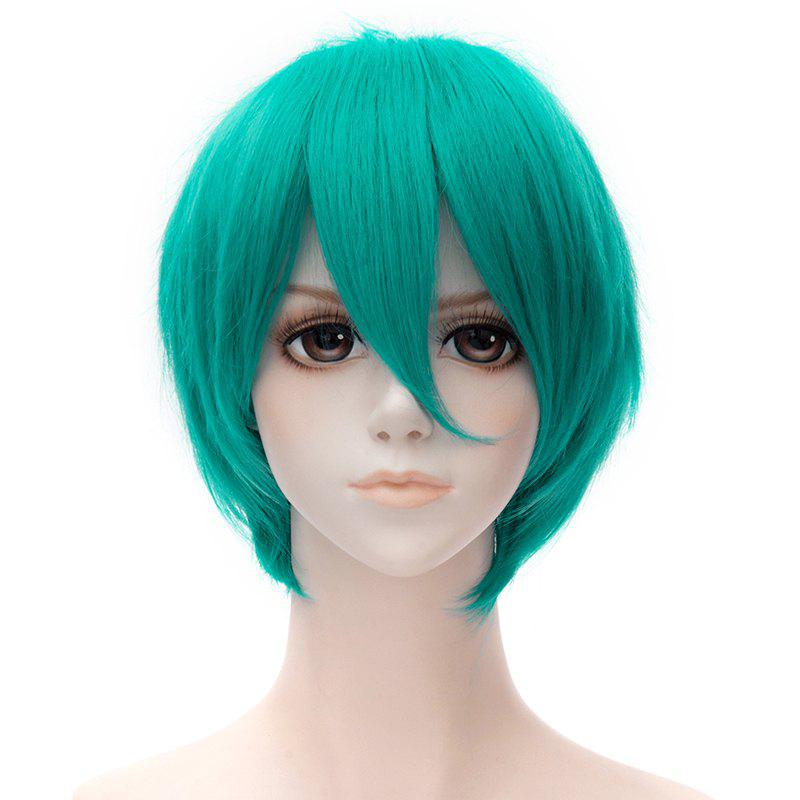 Stunning Short Trendy Fluffy Side Bang Natural Straight Affordable Universal Cosplay Men's Wig - LAKE BLUE