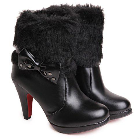 Fashionable Faux Fur and Bow Design Ankle Boots For Women - BLACK 37