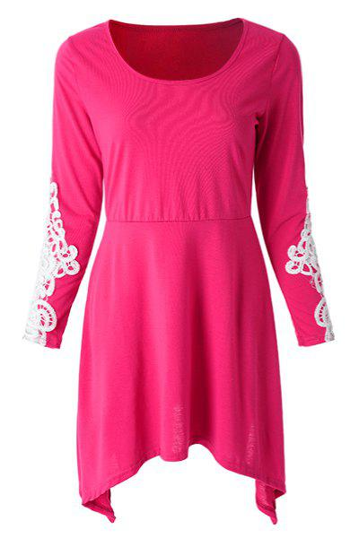 Casual Scoop Neck Lace Splicing Loose Fitting Long Sleeve Dress For Women - ROSE S