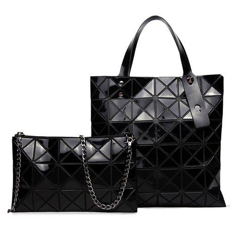 Stylish Geometric Pattern and Splicing Design Tote Bag For Women - BLACK