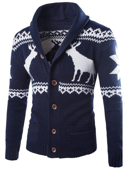 Slimming Fashion Turndown Collar Christmas Snowflake Fawn Jacquard Long Sleeve Men's Cotton Blend Cardigan - CADETBLUE M