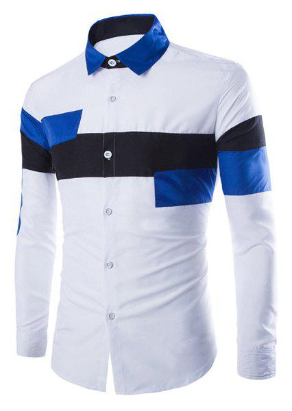 Trendy Slimming Shirt Collar Multicolor Irregular Splicing Long Sleeve Polyester Shirt For Men
