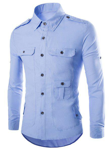Modish Slimming Shirt Collar Multi-Pocket Epaulet Design Long Sleeve Polyester Shirt For Men - AZURE L