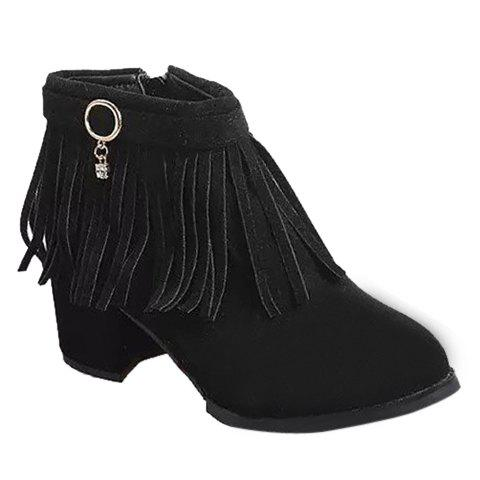 Retro Fringe and Metal Design Women's Short Boots