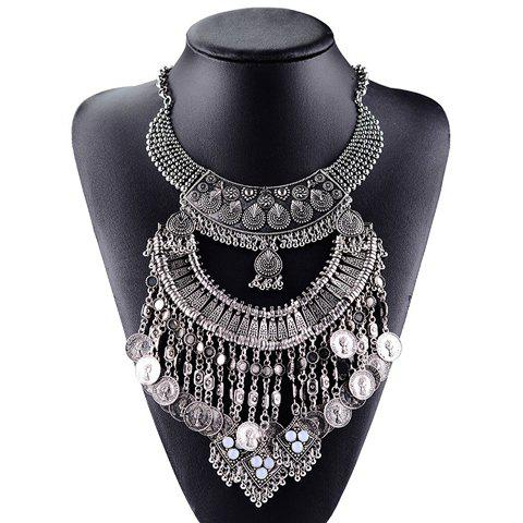 Vintage Coin Layered Tassel Necklace For Women - WHITE