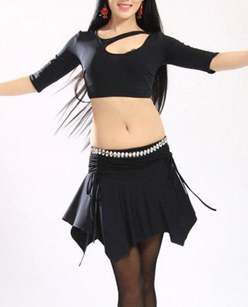 Stylish Women's Hollow Out 1/2 Sleeve Two-Piece Dance Costume - BLACK ONE SIZE(FIT SIZE XS TO M)