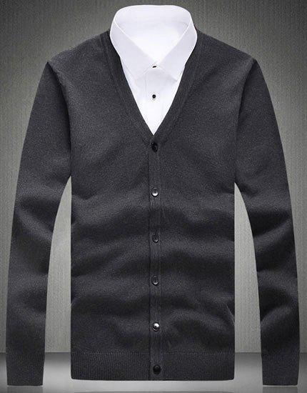 V-Neck Solid Color Long Sleeve Loose-Fitting Men's Cardigan - DEEP GRAY 5XL