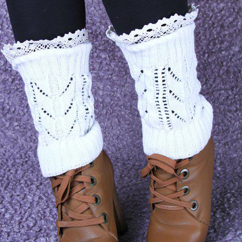 Pair of Chic Lace Edge and Hollow Out Design Women's Short Knitted Leg Warmers - COLOR ASSORTED