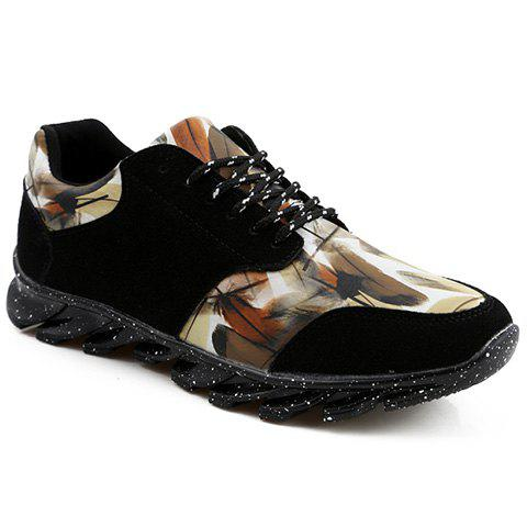 Stylish Printed and Suede Design Athletic Shoes For Men - BLACK 44