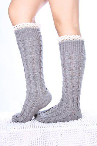 Pair of Chic Lace Edge Hemp Flower Women's Knitted Stockings - COLOR ASSORTED