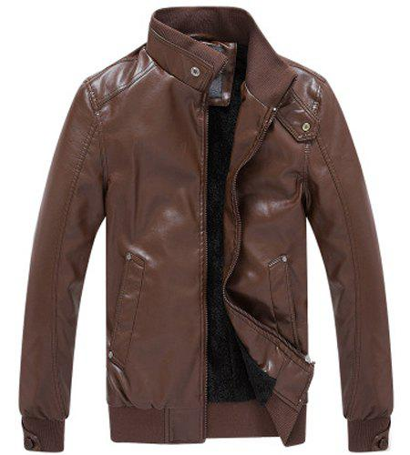 Stylish Fitted Stand Collar Pocket Design Rib Splicing Long Sleeve Thicken PU Leather Jacket For Men - BROWN XL