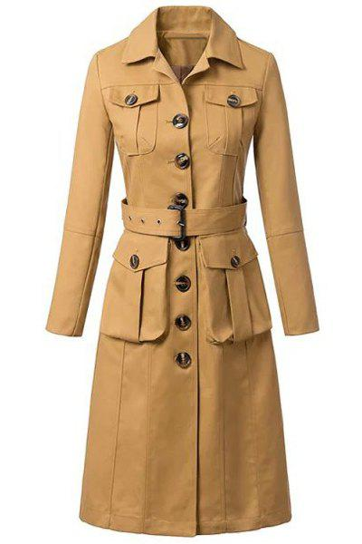 Fashionable Turn-Down Collar Single-Breasted Solid Color Long Sleeve Trench Coat For Women - KHAKI S