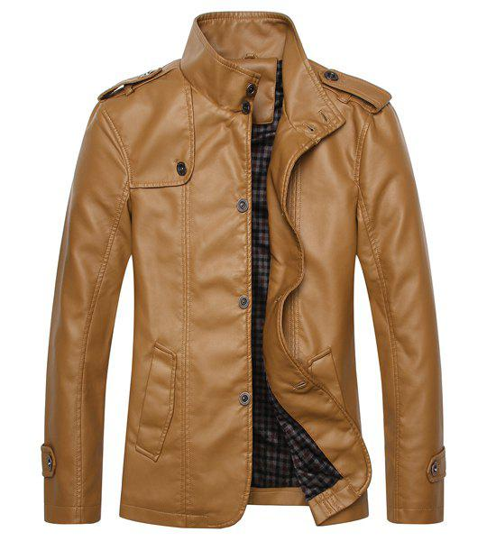 Fashion Fitted Stand Collar Epaulet Design Single Breasted Long Sleeve PU Leather Jacket For Men - COFFEE M