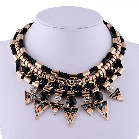 Characteristic Rhinestone Layered Triangle Necklace For Women - BLACK