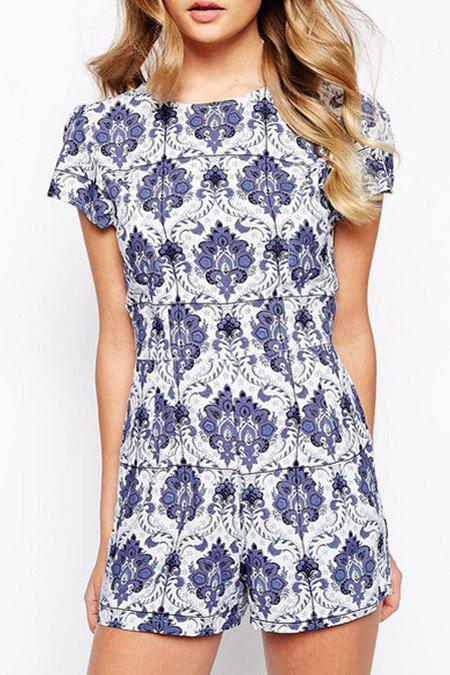 Slimming Round Neck Short Sleeve White and Blue Porcelain Women's Playsuit - BLUE/WHITE S