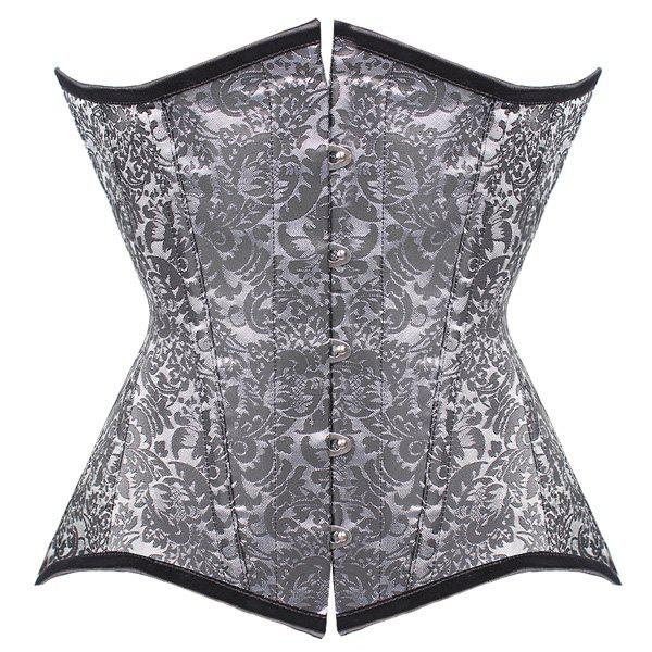Stylish Printed Lace-Up Women's Steel Boned Corset - GRAY M