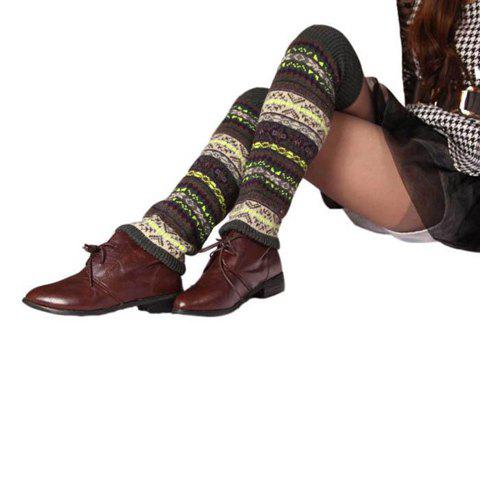 Pair of Chic Ethnic Pattern Women's Knitted Leg Warmers - COLOR ASSORTED