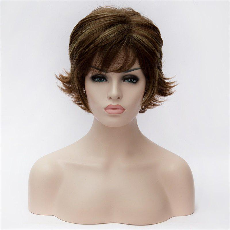 Shaggy Wavy Spiffy Short Blonde Highlight Full Bang Heat Resistant Fiber Capless Wig For Women - COLORMIX